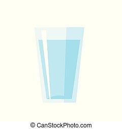 bicchiere acqua, vettore, illustrazione, isolato