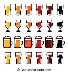bicchieri birra, differente, tipi, icone