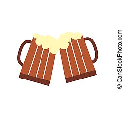 bicchieri birra, tazze, o, due