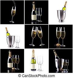 bicchieri champagne, bottiglia, pacco