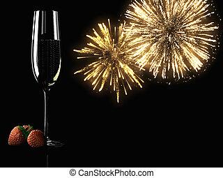 bicchieri champagne, con, fireworks, sullo sfondo