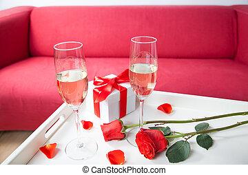 bicchieri champagne, e, rosso sorto