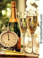 bicchieri champagne, fondo, festivo