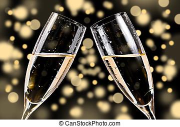 bicchieri champagne, su, bokeh, fondo