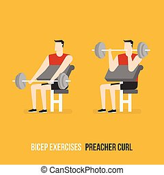 bicep, 説教師, exercises., curl.