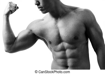 Bicep Curl - A monochrome shot of a young man flexing his...