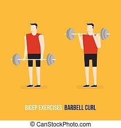 bicep, curl., exercises., バーベル