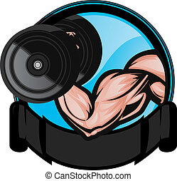 Muscular bicep flexing/performing arm curl. The arm and dumbell are on separate layers as are the background elements.