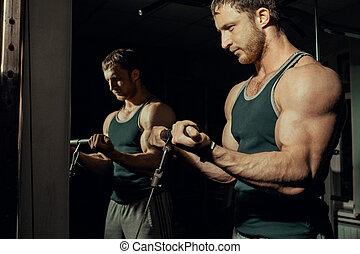 biceps, athlétique,  athlète, jeune, Gymnase, culturiste, exercices, presse