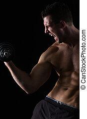 biceps, atleet, gespierd, black , boos, workout