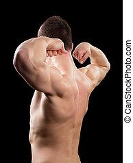 biceps, człowiek, widać