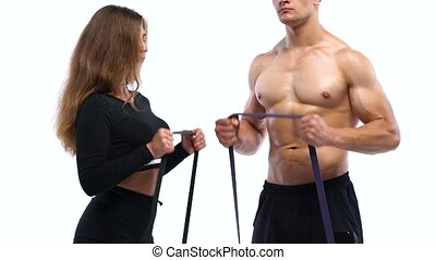 biceps, femme, élastique, athlétique, bandes, studio, fond, exercices, blanc, homme