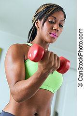 biceps, femme, fitness, noir, trains, maison, poids
