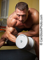 biceps, fort, coup, homme