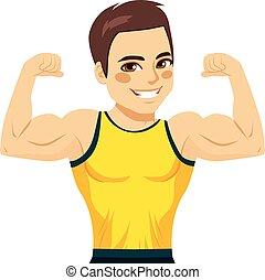 biceps, gespierd, man