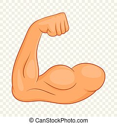 Biceps hands icon, cartoon style