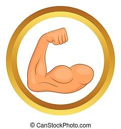 Biceps hands vector icon