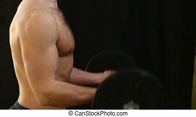 biceps, homme, entraînement, levage, barre disques