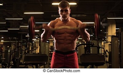 biceps, homme, levage, musculaire, barre disques