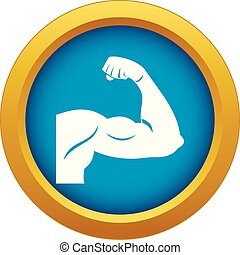 Biceps icon blue vector isolated