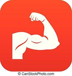 Biceps icon digital red