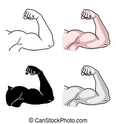 Biceps icon in cartoon style isolated on white background. Sport and fitness symbol stock vector illustration.