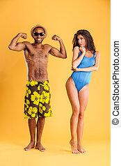 biceps, jego, pokaz, młody, amerykanka, sympatia, afro, człowiek