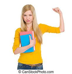 biceps, projection, livre, étudiant, girl, heureux