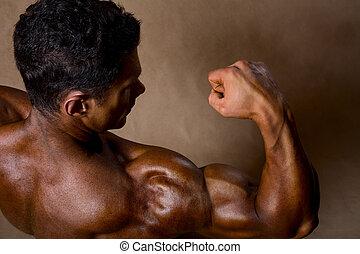 biceps., sportowy, górny prospekt, silny, widać, atleta, człowiek