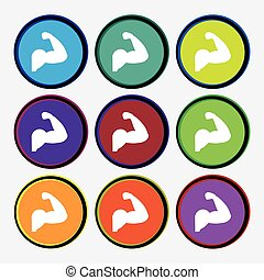 Biceps strong arm. Muscle icon sign. Nine multi colored round buttons. Vector