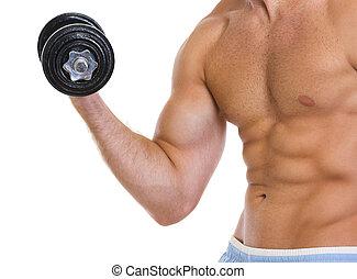 biceps, workout, gespierd, closeup, dumbbell, man