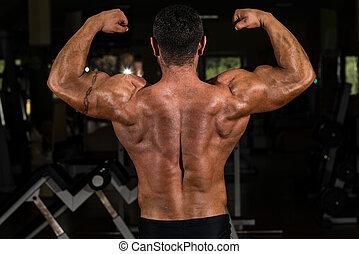 biceps, zijn, dubbel, het tonen, back, gespierd, bodybuilder