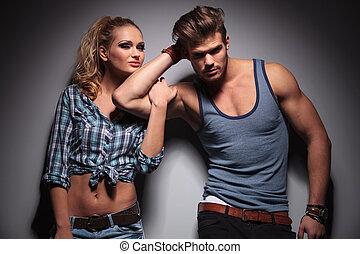 biceps, zijn, haar, vrouwenholding, boyfriend
