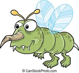 bicho, medio, repugnante, insecto, vector