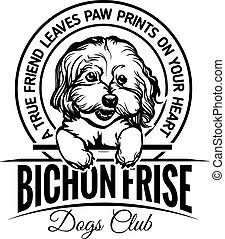 Bichon Frise - Dog Set Happy Face Paw Puppy Pup Pet Clip Art K-9 Cop Police Logo SVG PNG Clipart Vector Cricut Cut Cutting - vector illustration for t-shirt, logo and template badges in monochrome style
