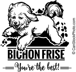 Bichon Frise in jump - Dog Set Happy Face Paw Puppy Pup Pet Clip Art K-9 Cop Police Logo SVG PNG Clipart Vector Cricut Cut Cutting - vector illustration for t-shirt, logo and template badges in monochrome style