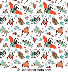 bichos, exótico, escarabajos, patrón, excepcional, seamless