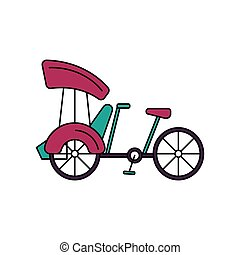 bicicleta, ícone, caricatura, estilo