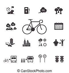 bicicleta, ícones