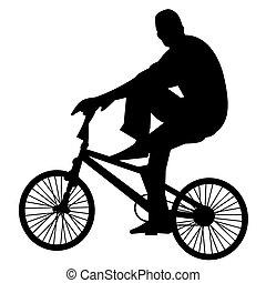 bicicleta, 2, cavaleiro, vetorial