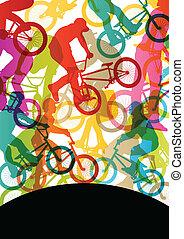 bicicleta, abstratos, ciclistas, crianças, silhuetas,...