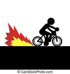 bicicleta, acelerando, chama