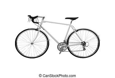 bicicleta, aislado, blanco