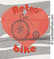 bicicleta, antigas, grunge, retro, fundo