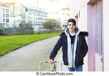 bicicleta, ao ar livre, moda, adolescente