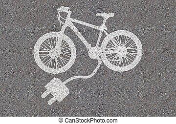 bicicleta, asfalto, pintado, eléctrico