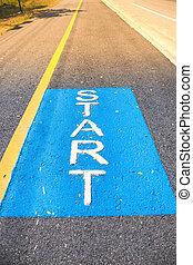 bicicleta, asfalto, ponto, passeio, início, estradas