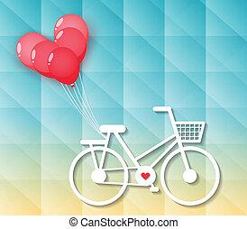 bicicleta, balões, coração vermelho