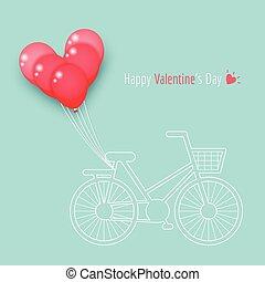 bicicleta, balões, coração