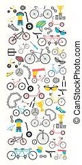 bicicleta, bandeira, gráfico, design., bicicleta, types., vetorial, ilustração, apartamento, desenho